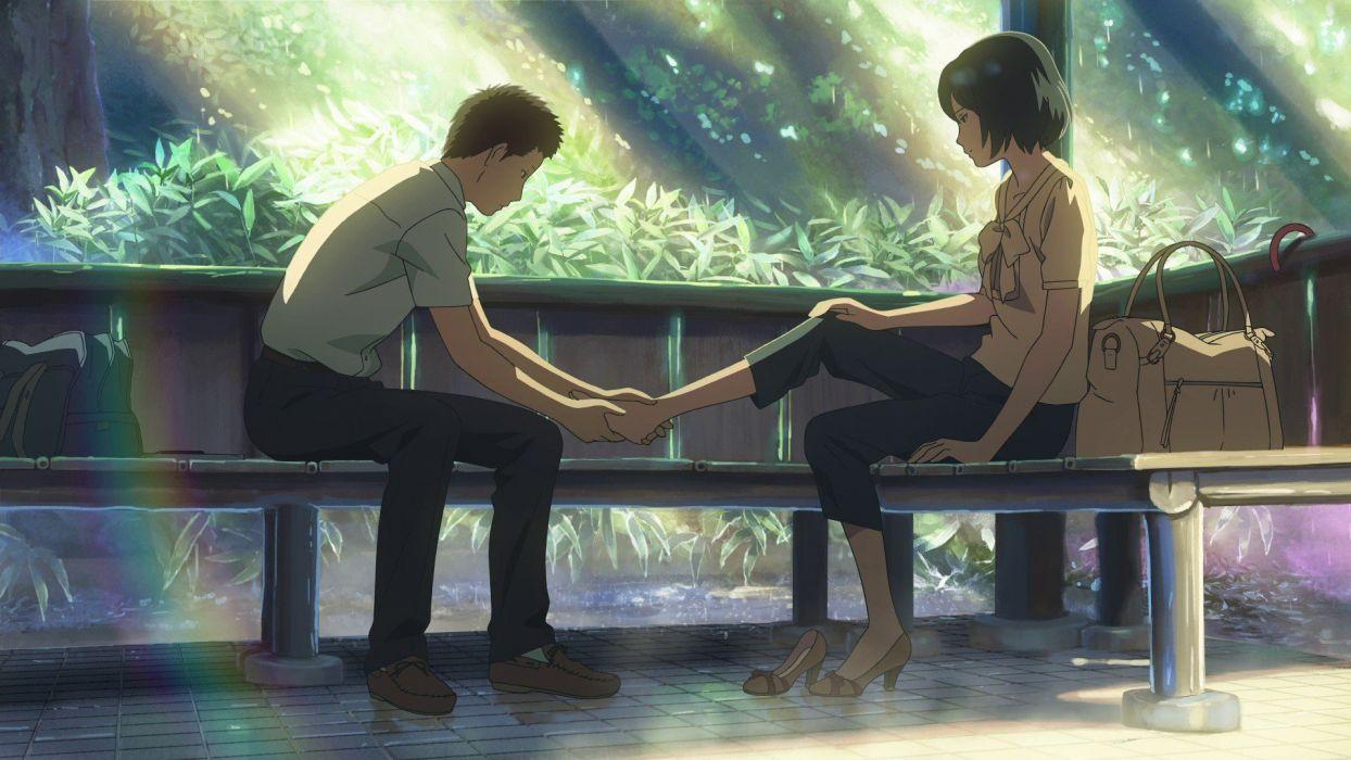 leaves feet bench Makoto Shinkai rainbows sunlight artwork sitting gazebo bags The Garden of Words wallpaper