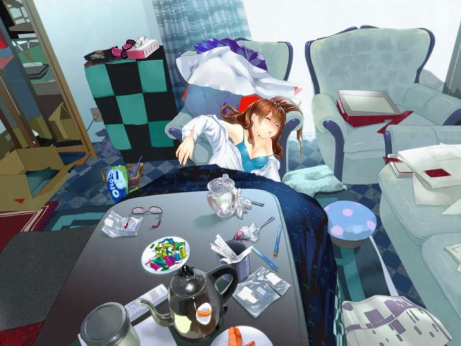 brunettes couch room chairs sleeping closed eyes anime girls wallpaper