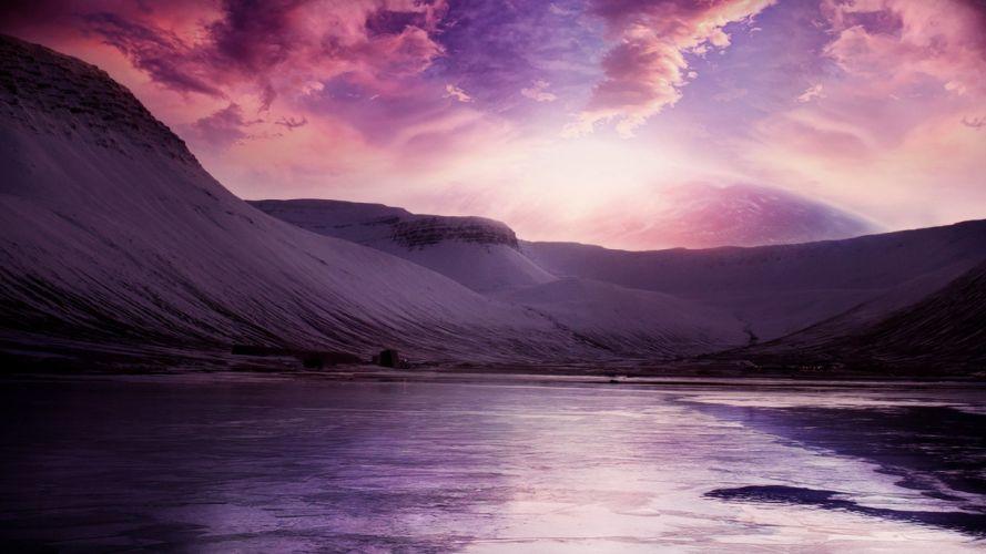 mountains landscapes multicolor digital art wallpaper