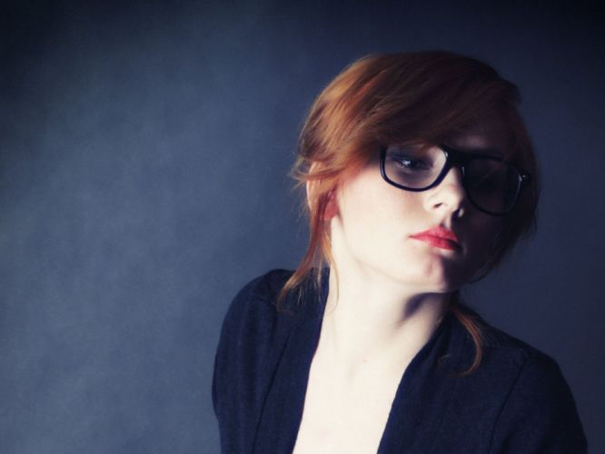 women redheads models black dress open blouse blue background Patty girls with glasses wallpaper