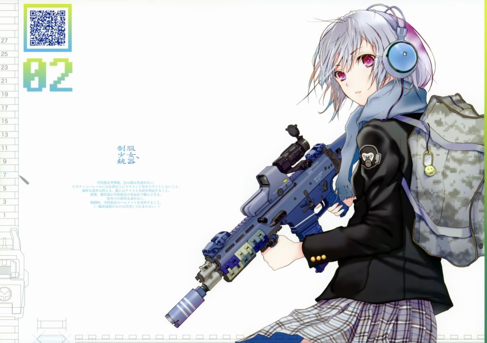 headphones weapons Fuyuno Haruaki assault rifle simple background anime girls ACR wallpaper