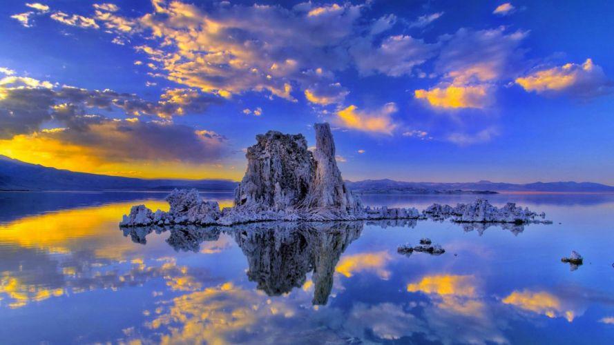 sunset clouds landscapes nature California lakes reflections Mono Lake wallpaper