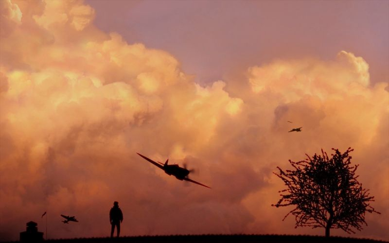 clouds aircraft trees silhouettes wallpaper