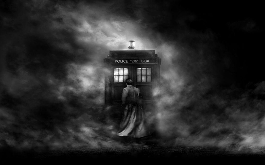 TARDIS mist grayscale Doctor Who wallpaper