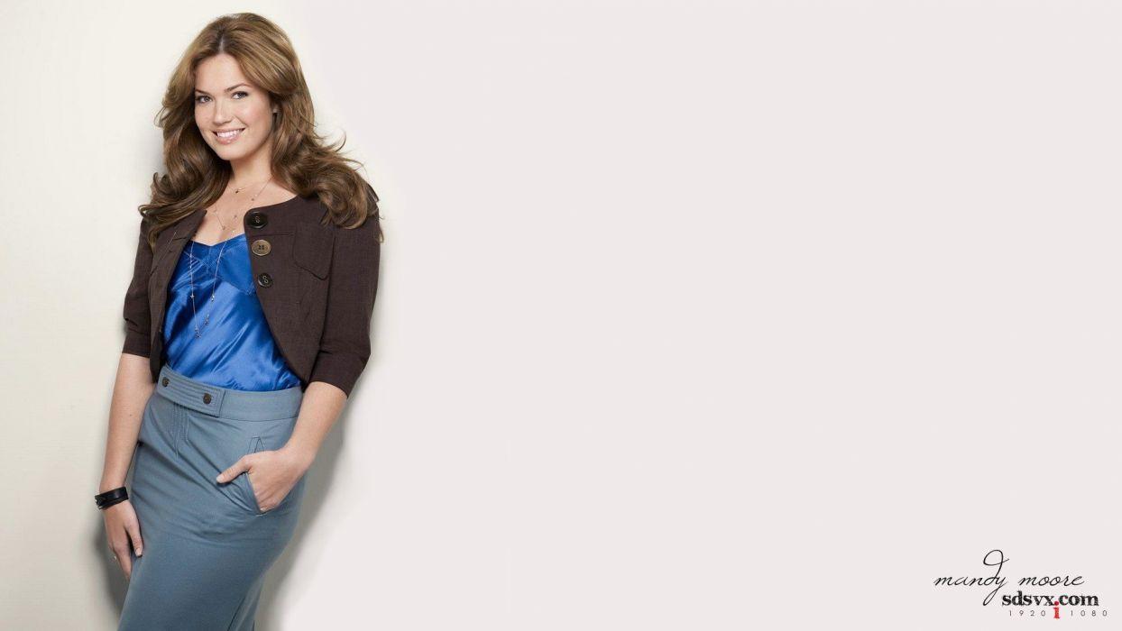 brunettes blondes women Mandy Moore models white background wallpaper