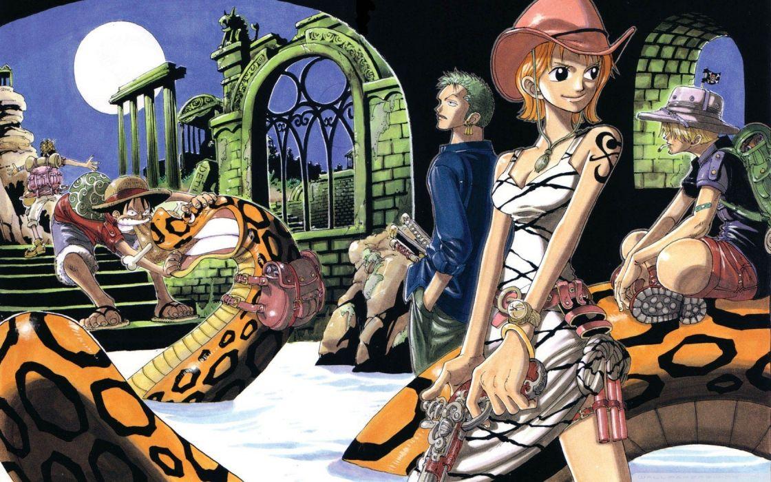 clouds One Piece (anime) snakes Roronoa Zoro anime Monkey D Luffy Nami (One Piece) Usopp Sanji (One Piece) wallpaper