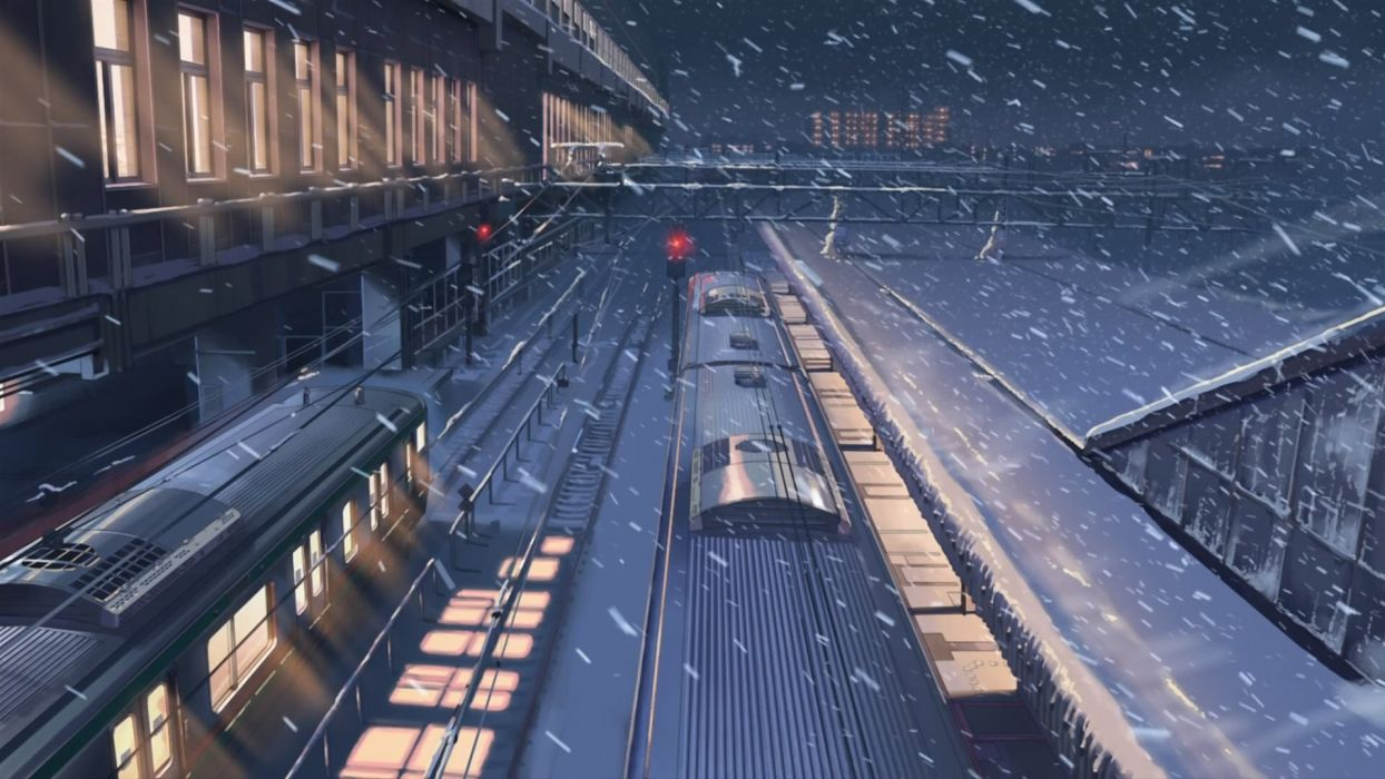 Snow Makoto Shinkai Train Stations 5 Centimeters Per Second Snowing Wallpaper