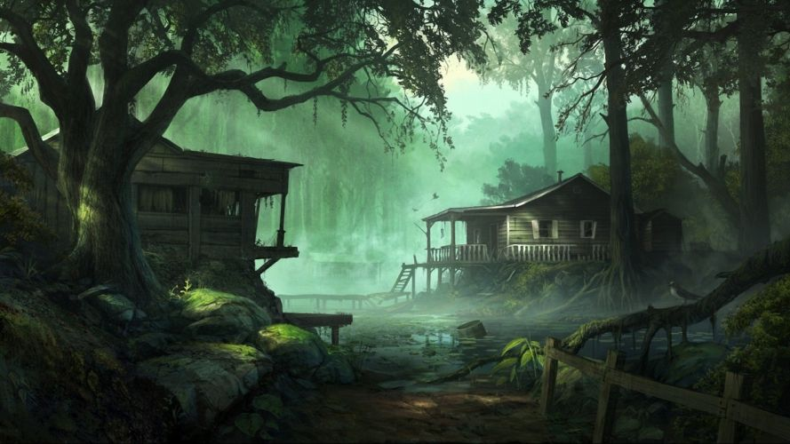 nature trees dark forests houses artwork Andree Wallin wallpaper