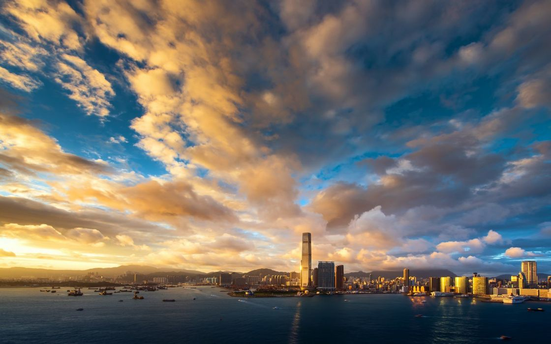 blue clouds cityscapes Hong Kong skyscapes wallpaper
