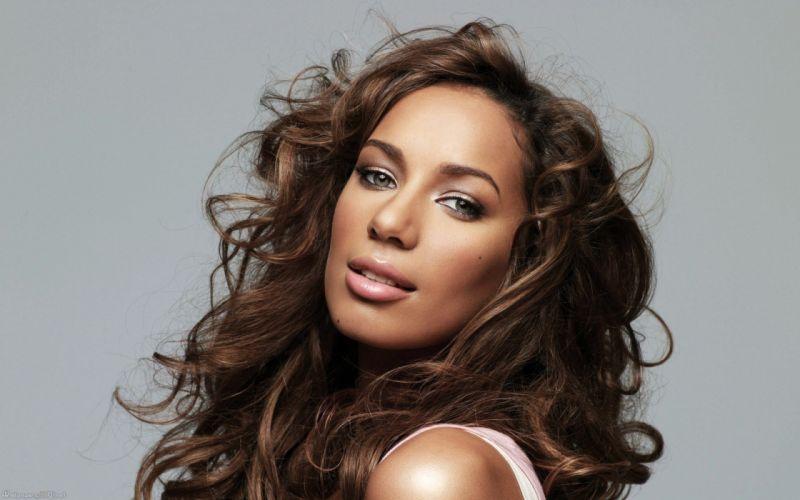 brunettes women green eyes Leona Lewis singers wallpaper
