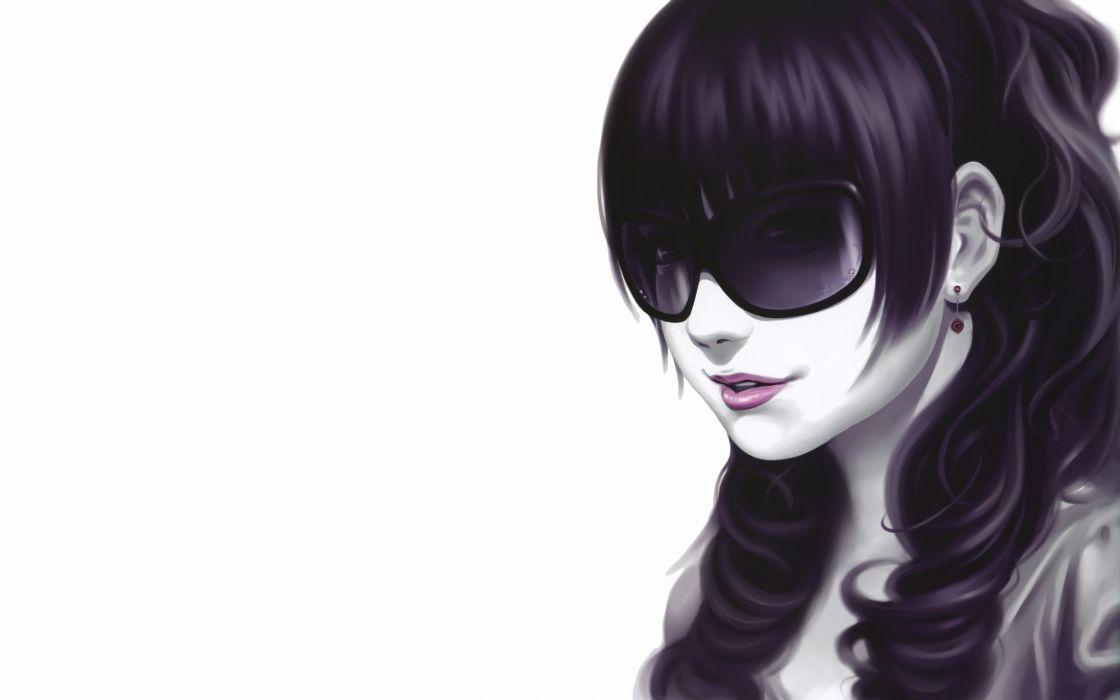 women glasses long hair Pixiv artwork simple background white background wallpaper