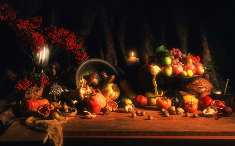 food oranges grapes candles apples pumpkins still life wallpaper
