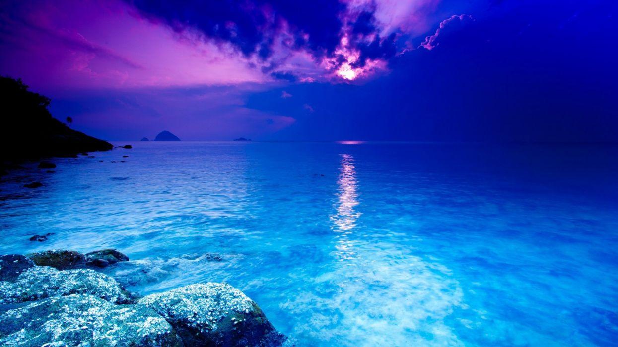 sunset clouds landscapes nature blue sea sea wallpaper