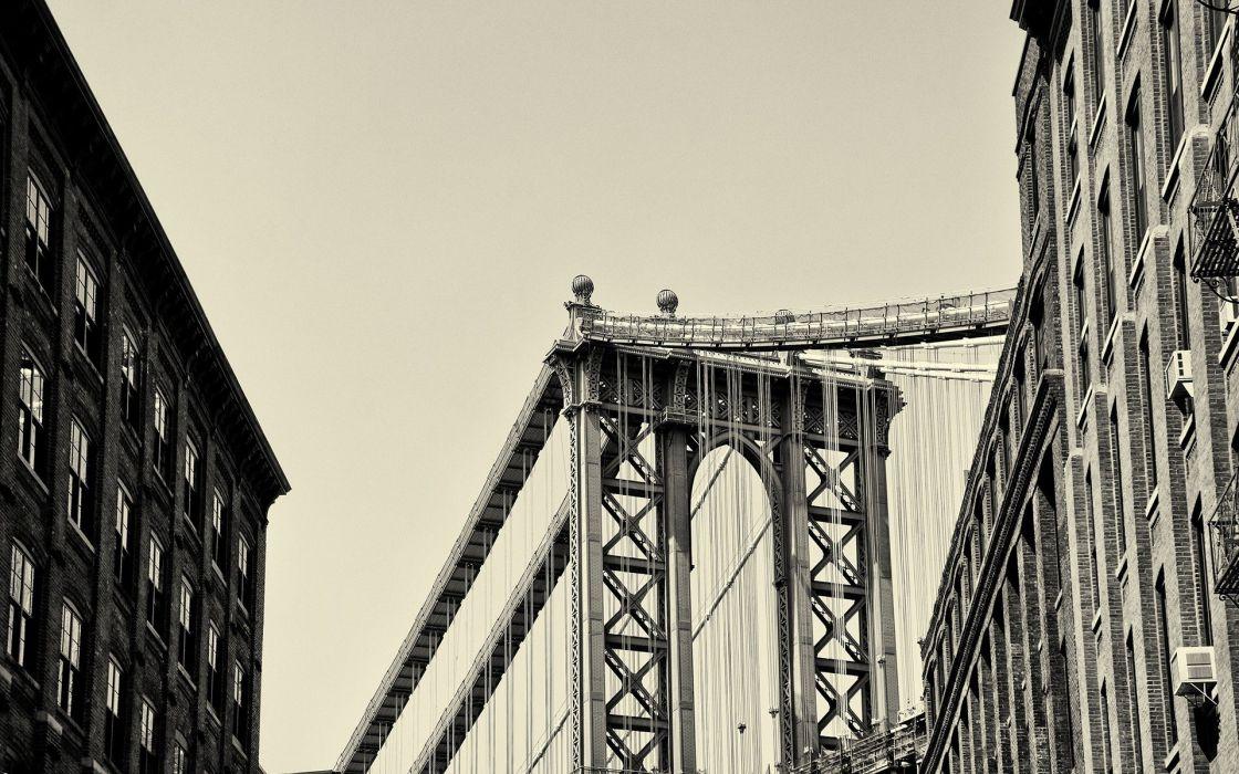 architecture bridges New York City sepia Manhattan Bridge wallpaper