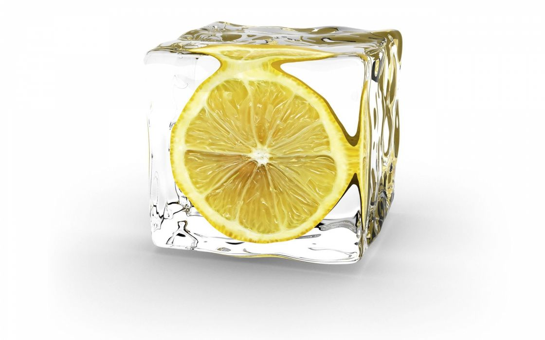 ice minimalistic digital art lemons white background cube wallpaper