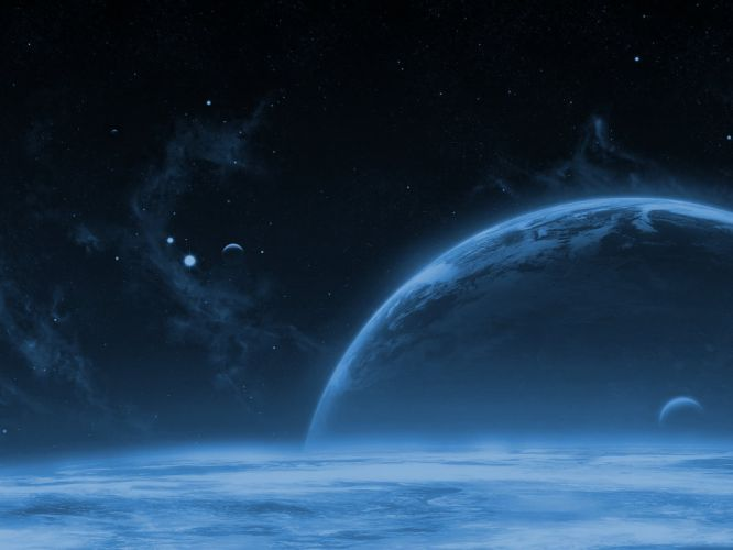 outer space stars planets Earth moons wallpaper