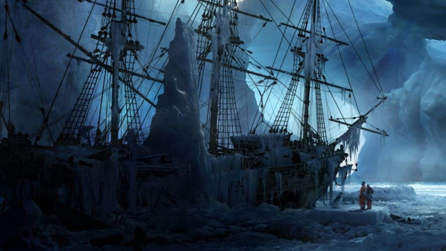 fantasy ice artistic cold ships frozen fantasy art icebergs shipwrecks abandoned wallpaper