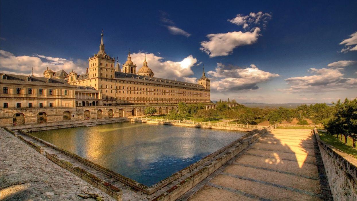 architecture buildings Spain madrid monastery San Lorenzo de El Escorial wallpaper