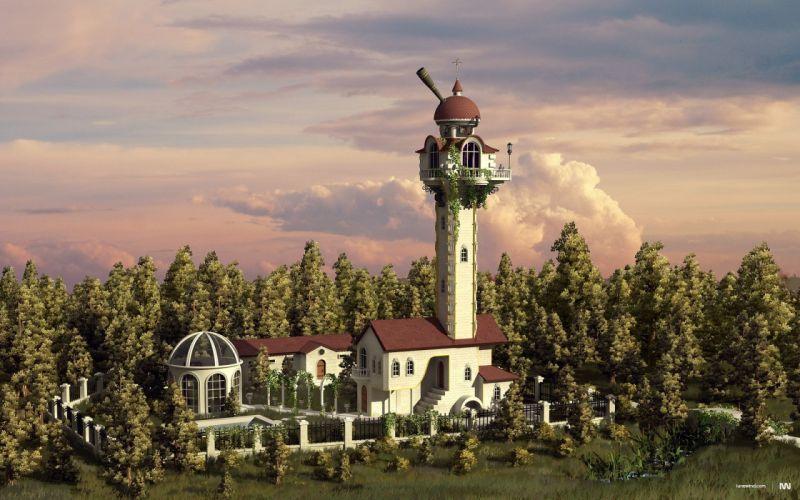 tower CGI fantasy art wallpaper