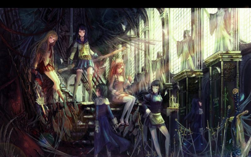 anime girls original characters wallpaper