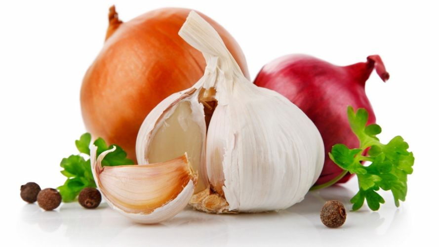 vegetables garlic onions white background parsley wallpaper