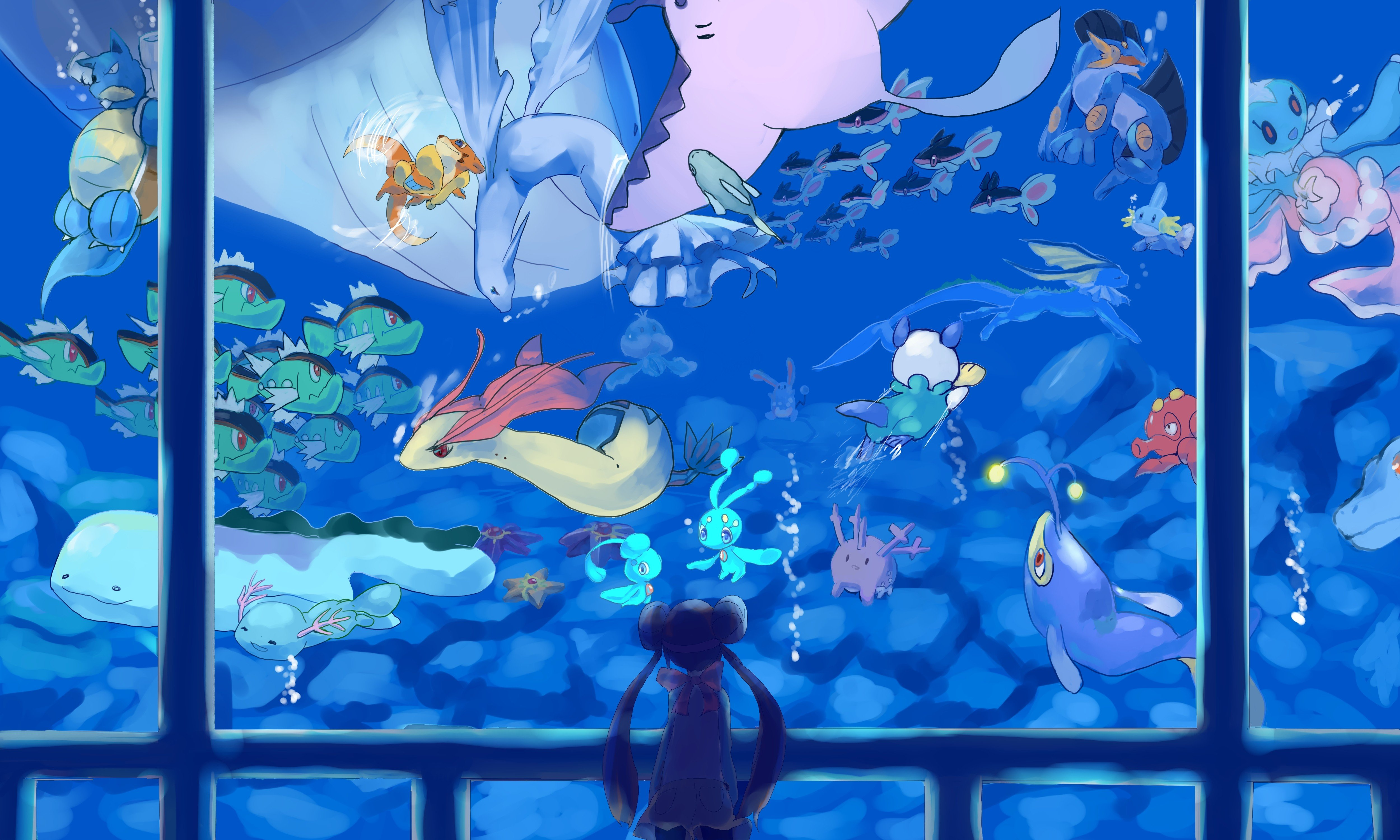 Women water Pokemon Mudkip long hair Blastoise swimming ...