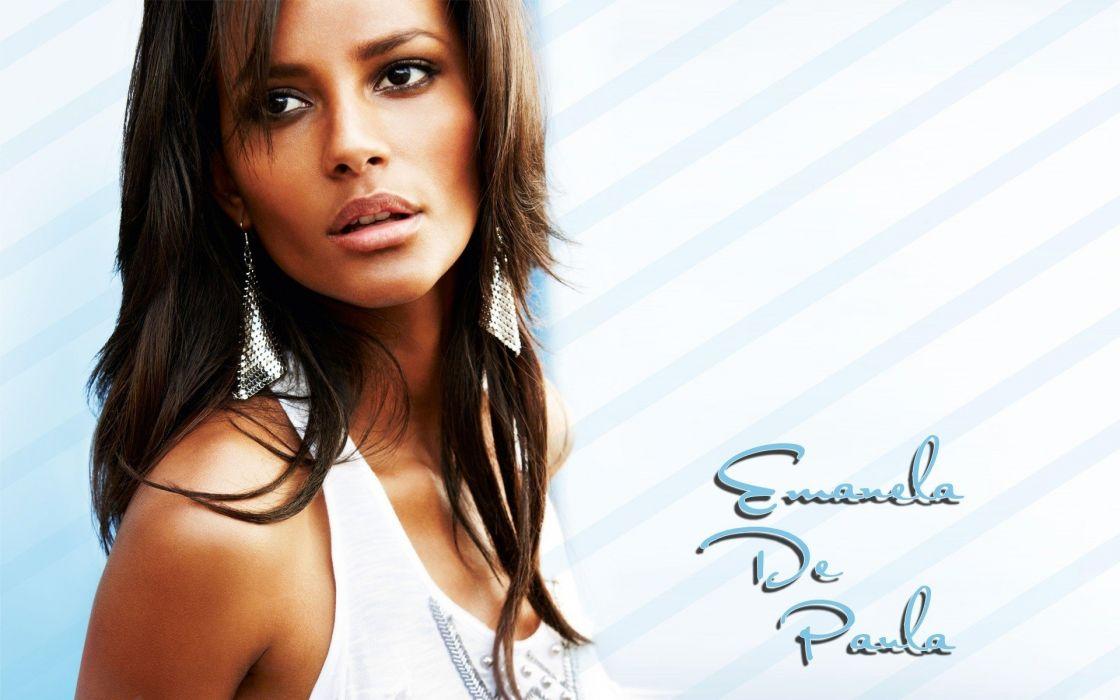 brunettes women Emanuela de Paula faces wallpaper