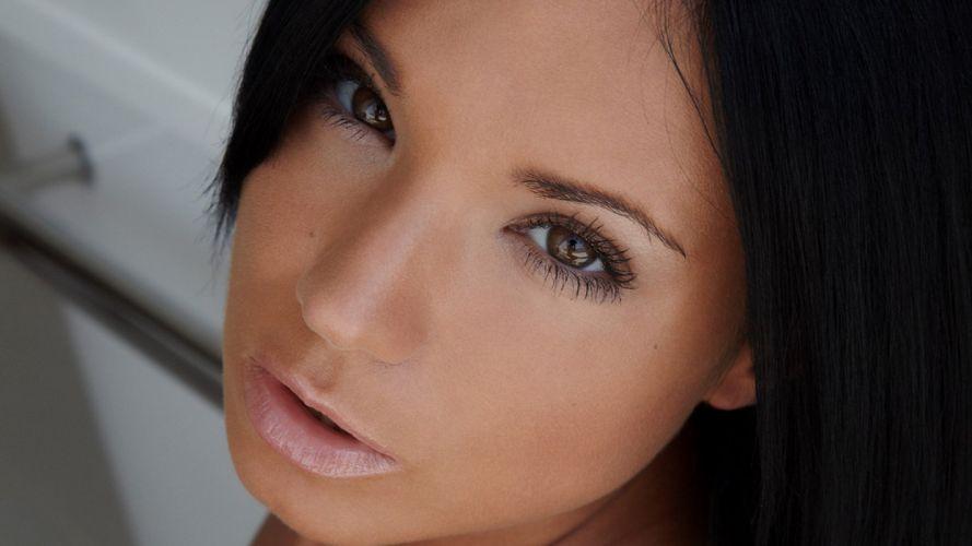 brunettes women eyes models Ashley Bulgari wallpaper