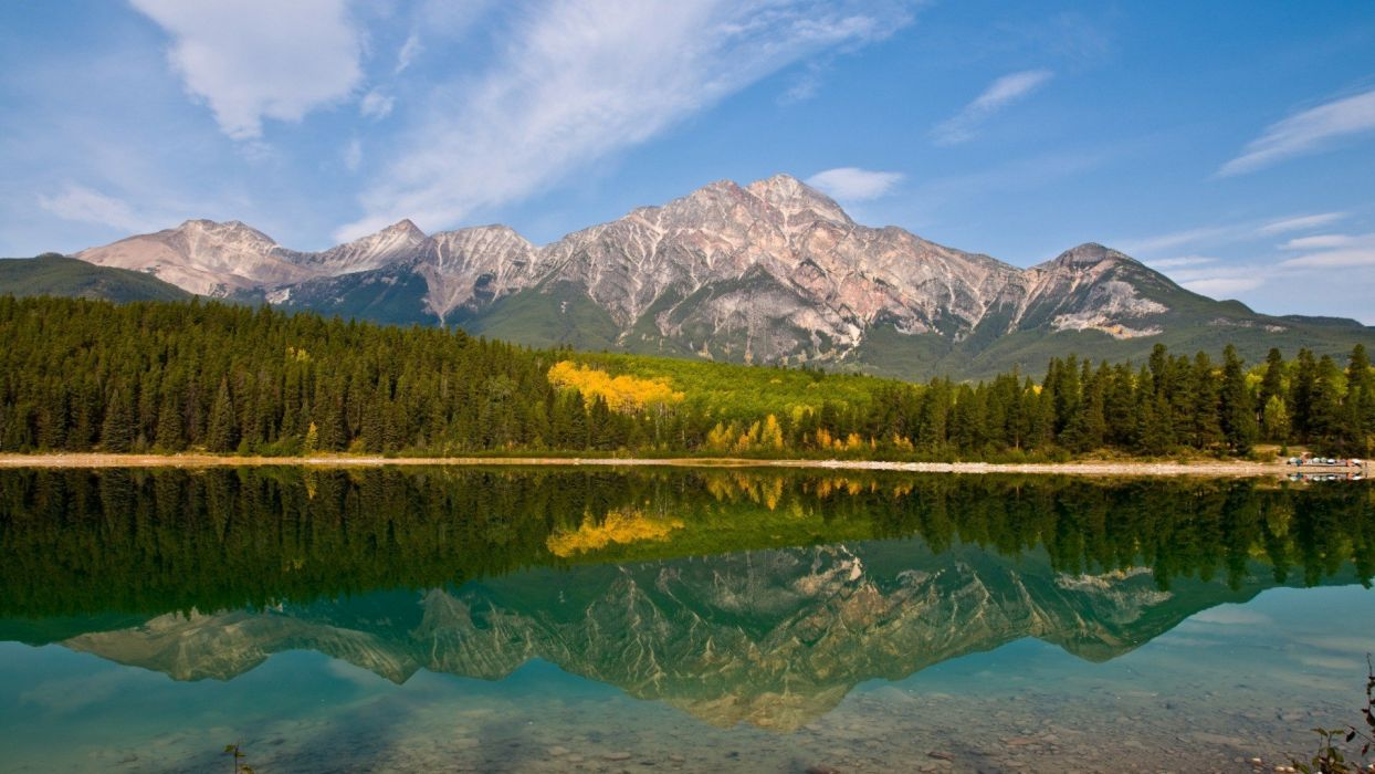 mountains trees reflections widescreen wallpaper