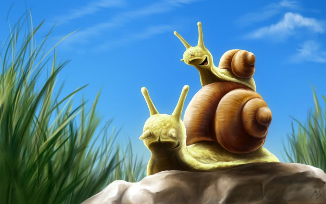 snails artwork wallpaper
