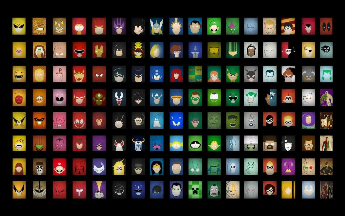 Green Lantern Hulk (comic character) Batman Anonymous Iron Man Link Venom Thor Spider-Man Captain America Wolverine Mario The Joker Zerg superheroes Gordon Freeman creeper Catwoman Son Goku Luigi The Thing Buzz Lightyear The Incredibles Magneto Hit Girl V wallpaper