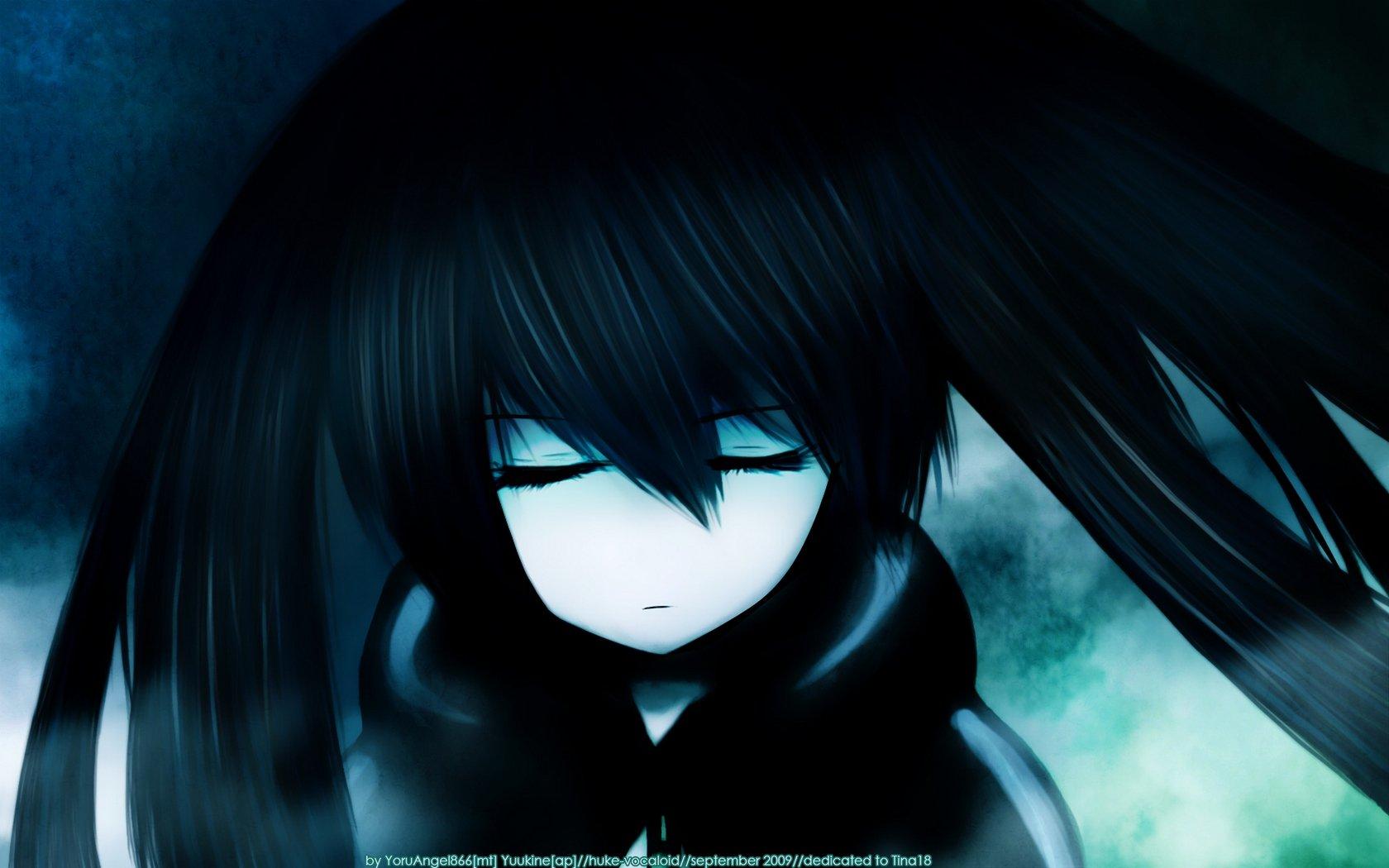 black dark Black Rock Shooter long hair twintails hoodies closed eyes anime girls faces pale skin