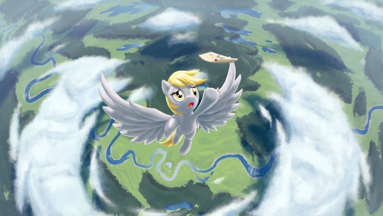 ponies Derpy Hooves letter My Little Pony: Friendship is Magic Ditzy Doo skies Azenge Five Point Perspective wallpaper