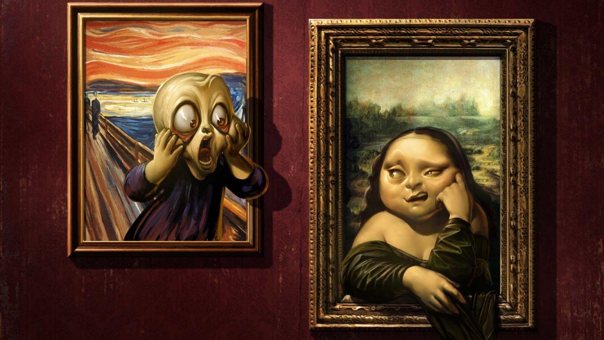 paintings funny Mona Lisa artwork The Scream Da Vinci fantacy wallpaper