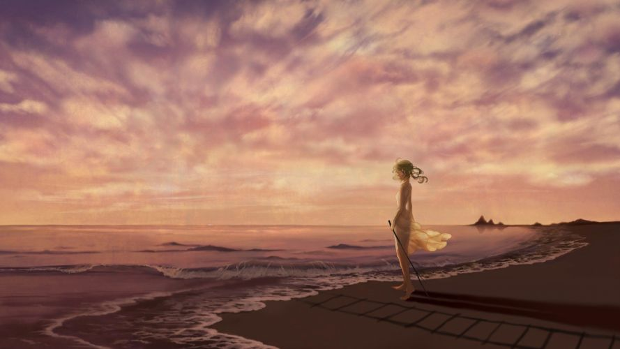 dress waves shadows anime skyscapes anime girls sea wallpaper