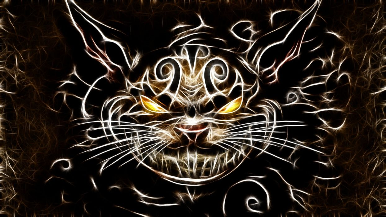cats Fractalius Cheshire Cat American McGees Alice wallpaper