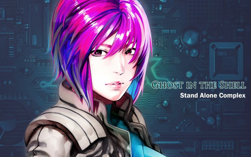 Kusanagi Motoko purple hair short hair pink eyes Ghost in the Shell anime girls wallpaper