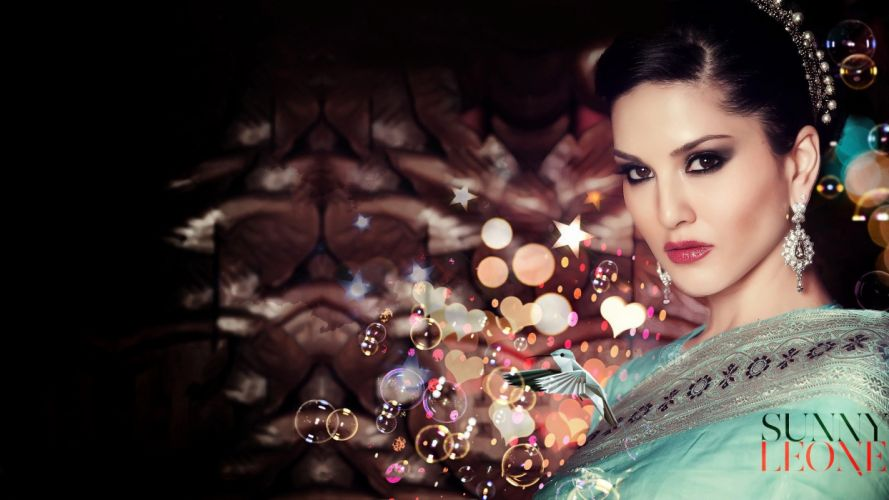brunettes women Sunny Leone faces wallpaper