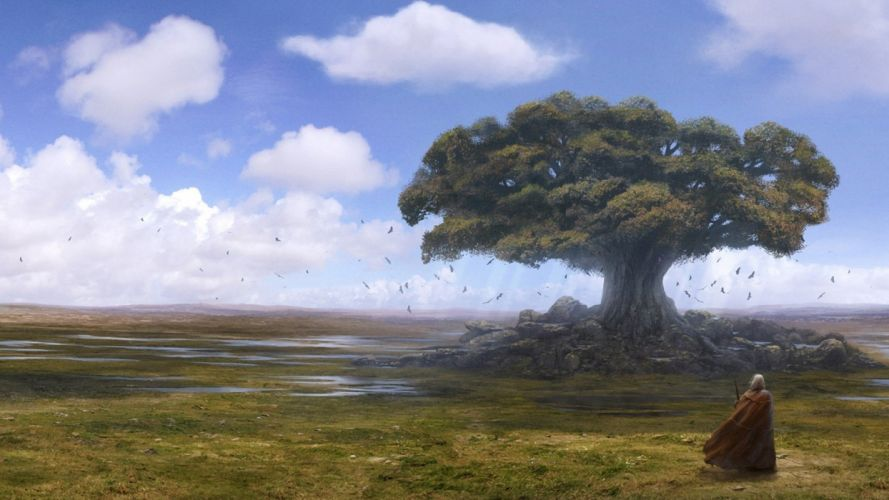 clouds landscapes horizon trees artwork drawings plains crows skyscapes Andreas Rocha wallpaper