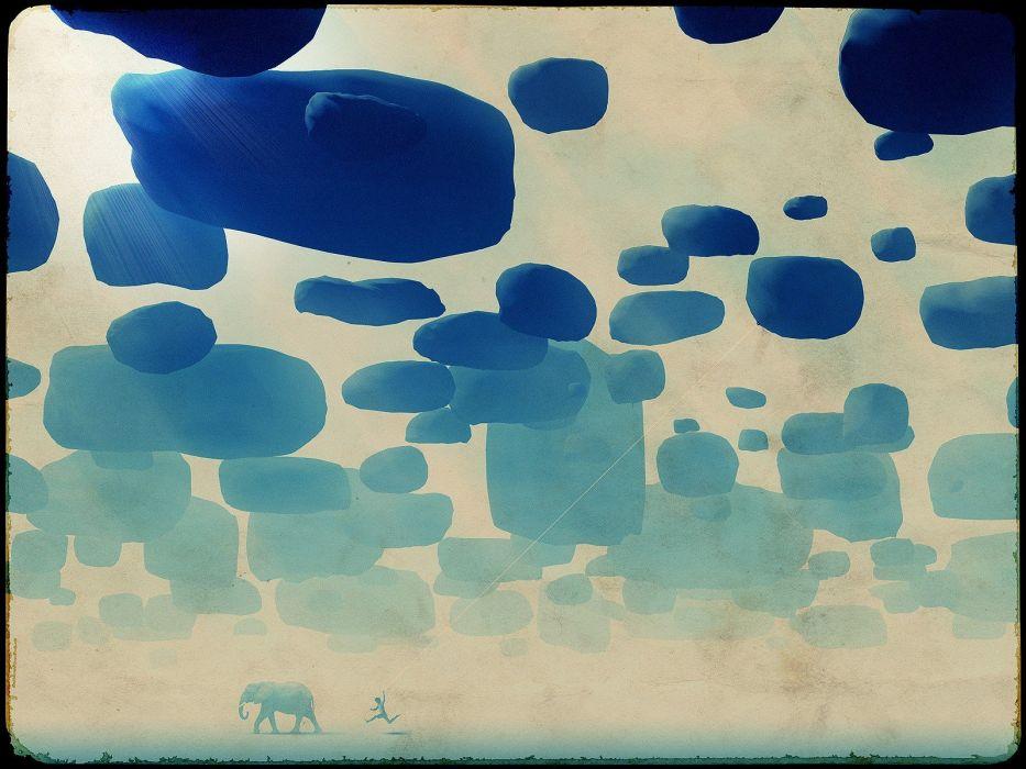 abstract artwork elephants wallpaper