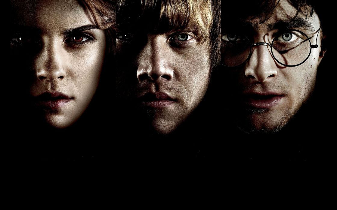 Emma Watson Harry Potter Harry Potter and the Deathly Hallows Daniel Radcliffe Rupert Grint Hermione Granger Ron Weasley men with glasses portraits wallpaper