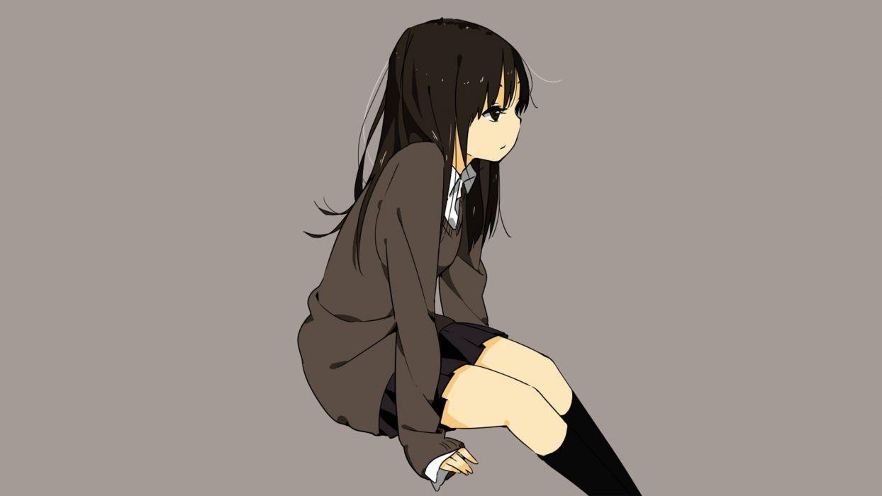 simple background anime girls knee socks wallpaper