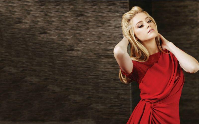 blondes women Amber Heard red dress wallpaper