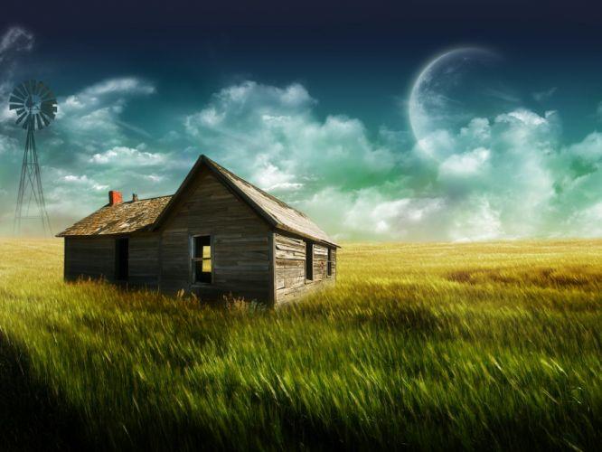 landscapes nature Moon houses farmhouse digital art wallpaper