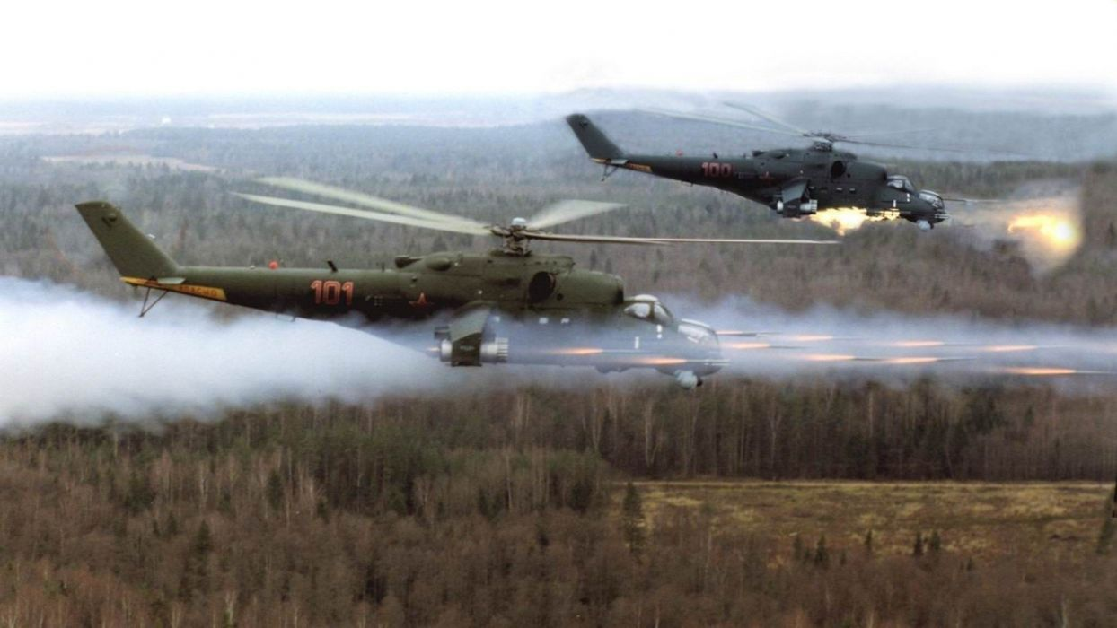 helicopters vehicles Mi-24 wallpaper
