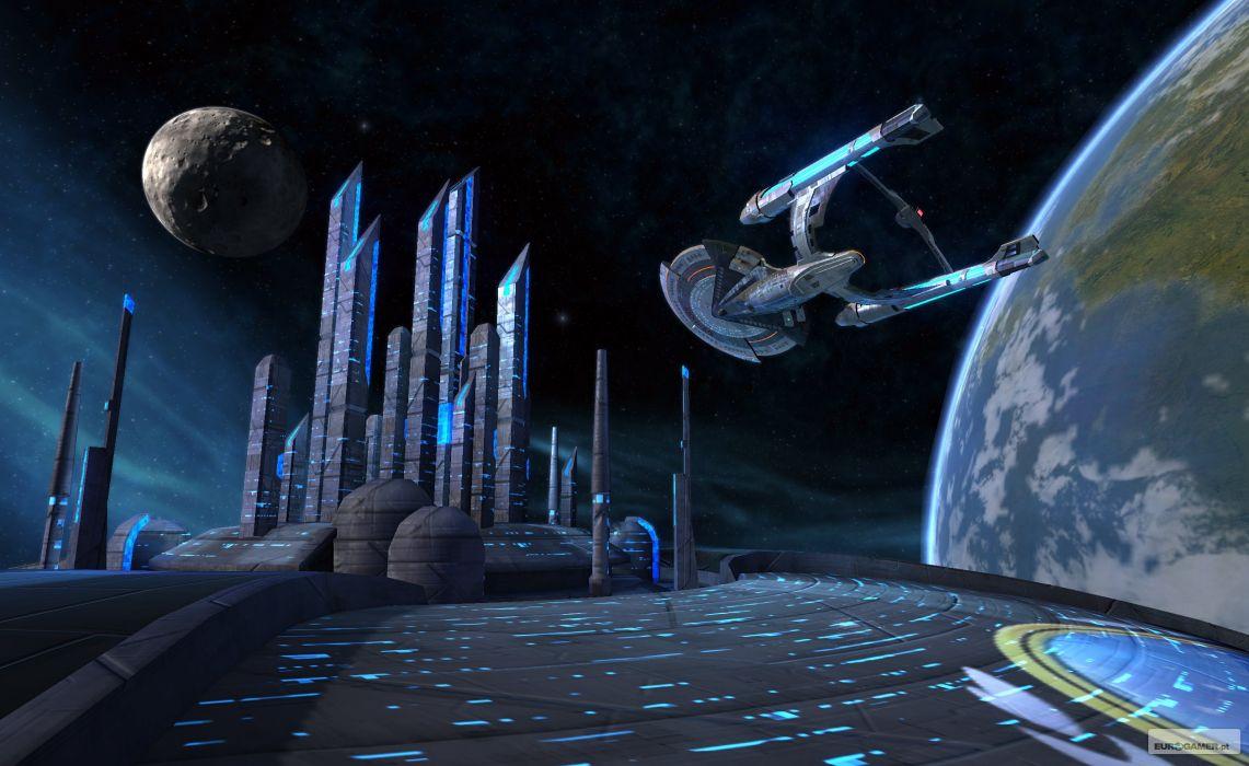 STAR TREK ONLINE game sci-fi futuristic spaceship planet city wallpaper