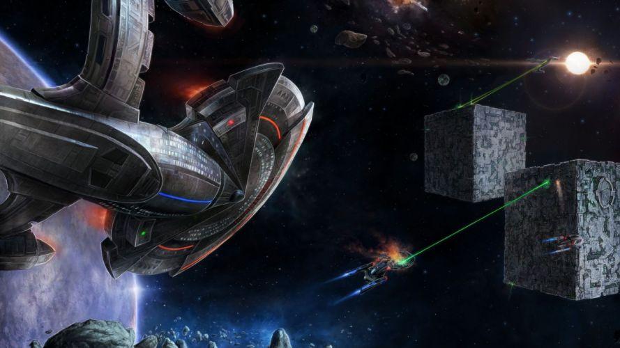 STAR TREK ONLINE game sci-fi futuristic spaceship battle wallpaper