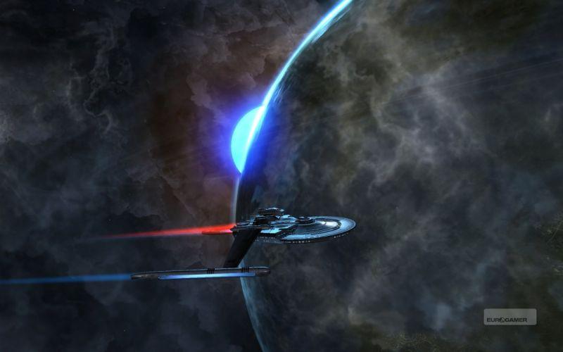 STAR TREK ONLINE game sci-fi futuristic spaceship planet wallpaper