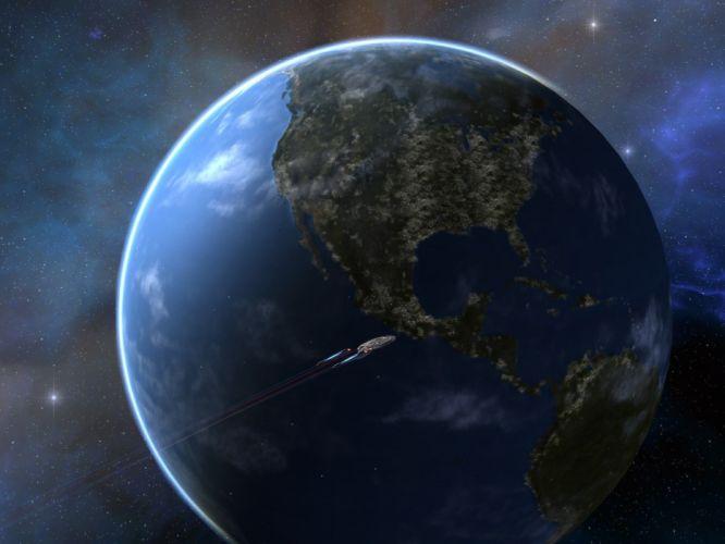 STAR TREK ONLINE game sci-fi futuristic planet spaceship wallpaper