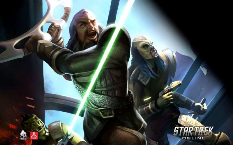 STAR TREK ONLINE game sci-fi futuristic warrior weapon wallpaper